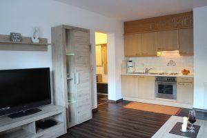 Wohnraum in der 40 m² Ferienwohnung inklusive Fernseher und Küche